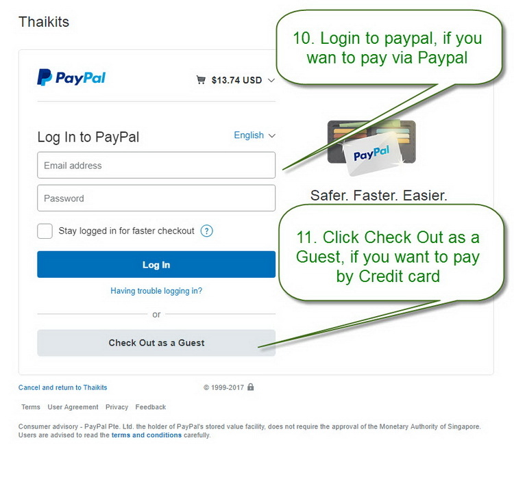 How to pay via Paypal-Credit card